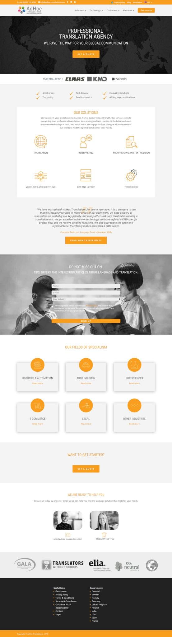 AdHoc Translation Services WordPress Website