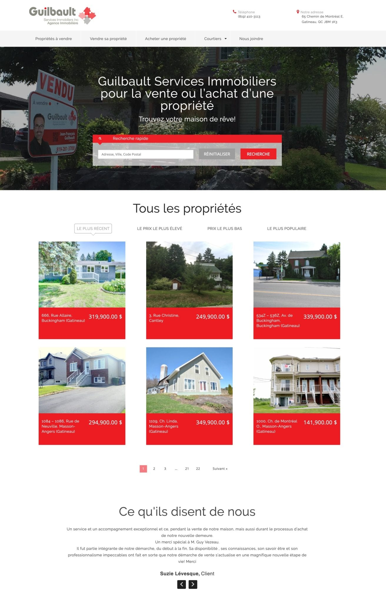 Guilbault Real Estate WordPress Website