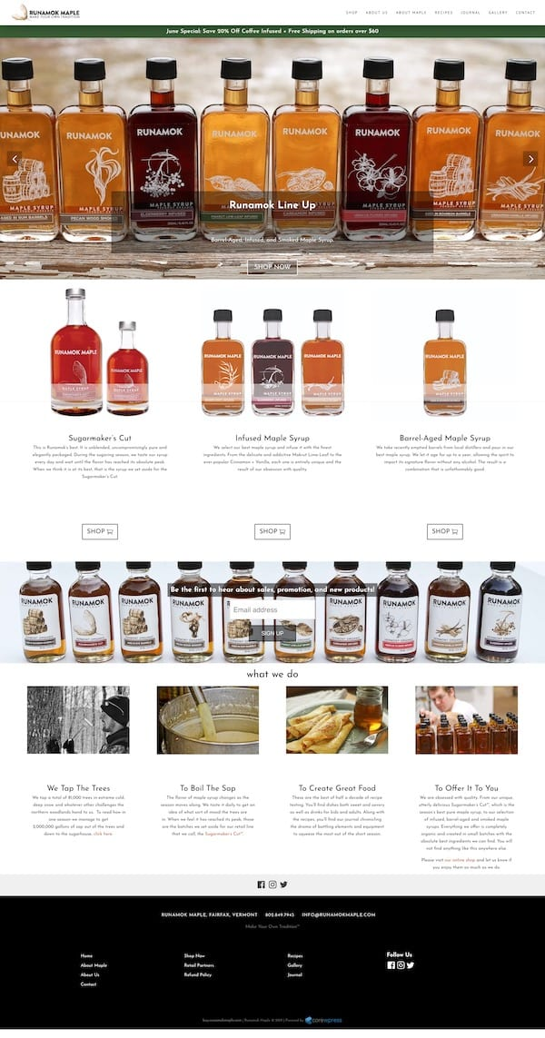 Runamok Maple WordPress Website