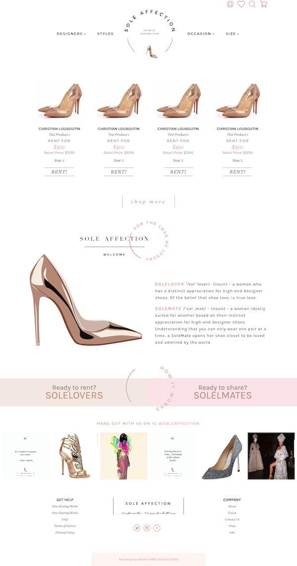 SoleAffection Shoe Rental WordPress Website