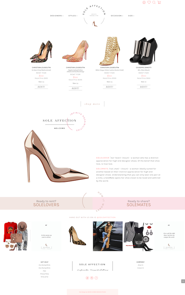 SoleAffection Shoe Rental WordPress Website
